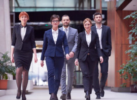 group of professionals walking